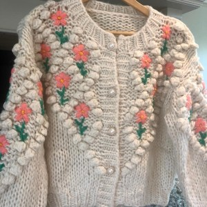 Chunky Cream knit With Floral Details