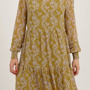Smock Dress in Lime Green Tapestry Print