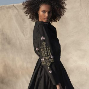 Devotion Twins Black Dress with Embroidery