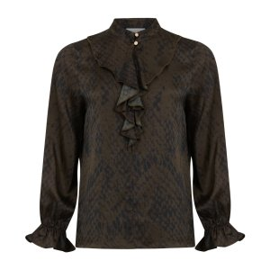 Snake Print Shirt with Frill Details