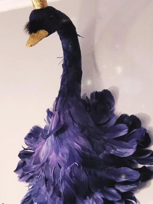 Purple Wall Mounted Swan with Gold Crown