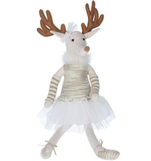 Gisela Graham Fabric Gold Ballerina Reindeer Ornament