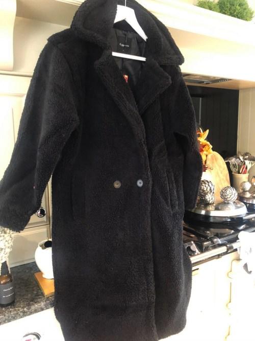 Black Teddy Faux Fur Long Coat