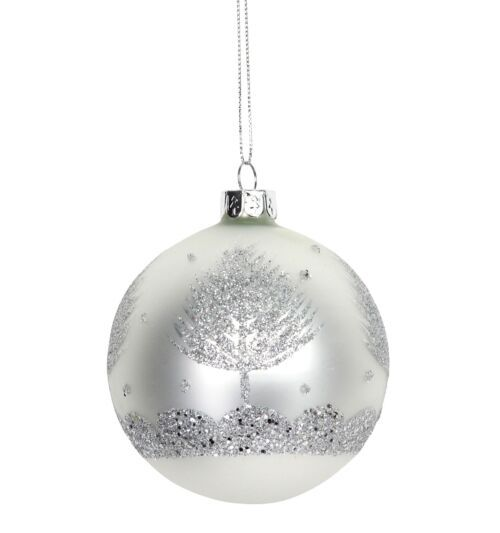 Gisela Graham Matte White with Silver Trees Glass Bauble