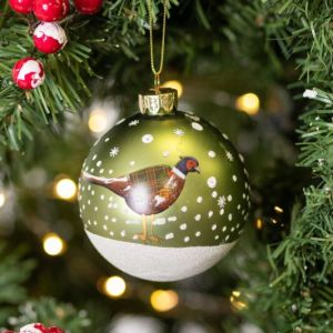 Gisela Graham Matte Green Glass Bauble with Partridge
