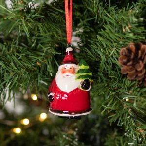 Gisela Graham Ceramic Santa with Christmas Tree Decoration