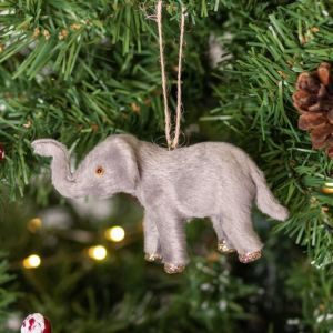 Gisela Graham Faux Fur Elephant Tree Decoration