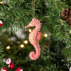 Gisela Graham Assorted Pastel Resin Seahorse Tree Decoration