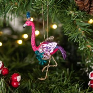 Gisela Graham Assorted Fantasy Flamingo Resin Tree Decoration