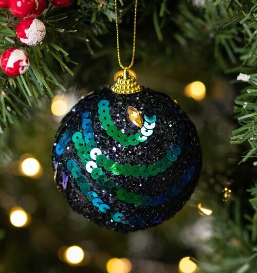isela Graham Glitter Peacock with Sequin Design Bauble