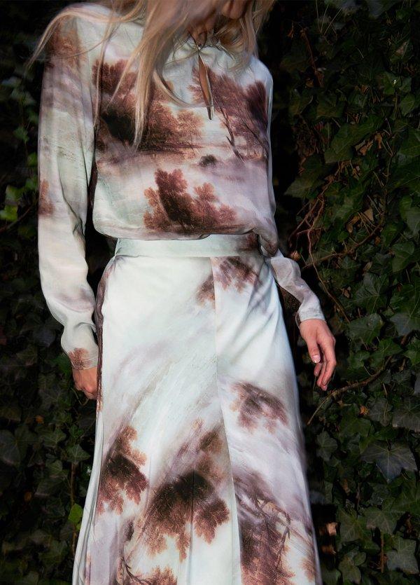 Misty Forest Long Sleeved Print BlouseMisty Forest Long Sleeved Print Blouse