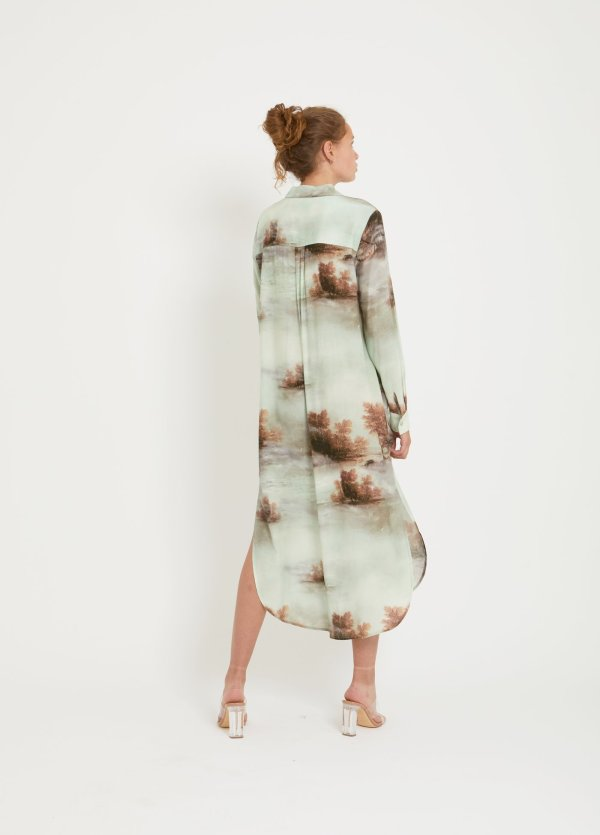 Long Shirt Dress in Misty Forest Print with Tie Beltv