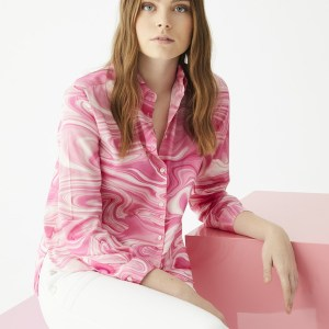 Isabella Shirt in Marble Pink Print