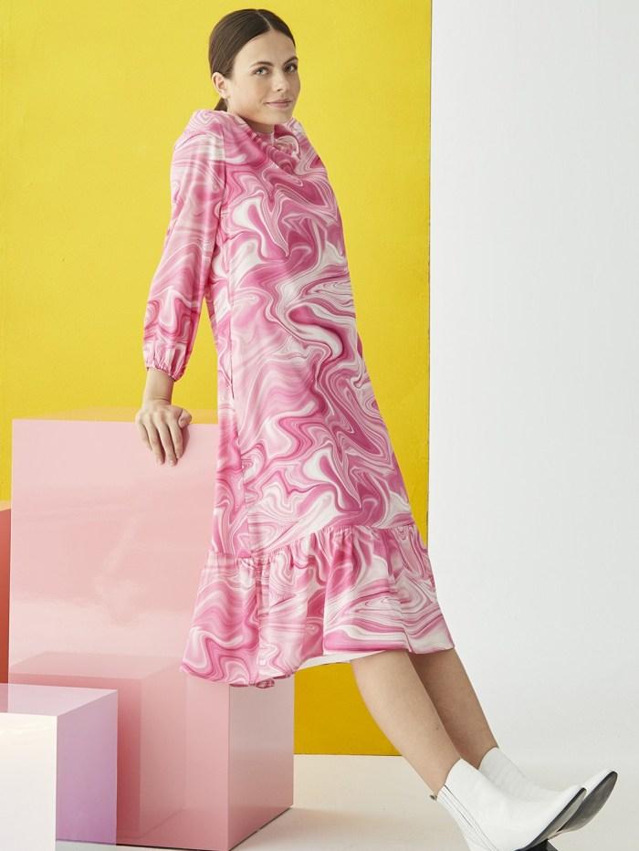 Luna Dress in Pink Marble Print