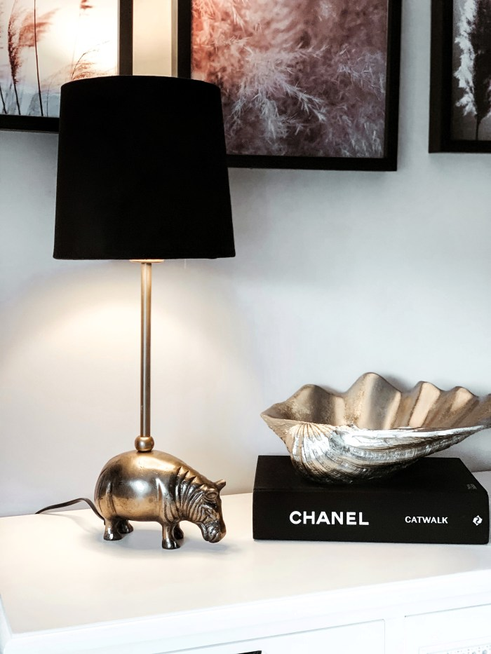 Gold Rhino Lamp with Black Shade