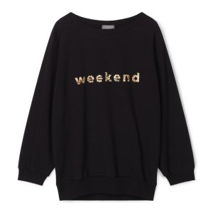 Chalk Nancy Sweatshirt with Weekend Slogan in Black