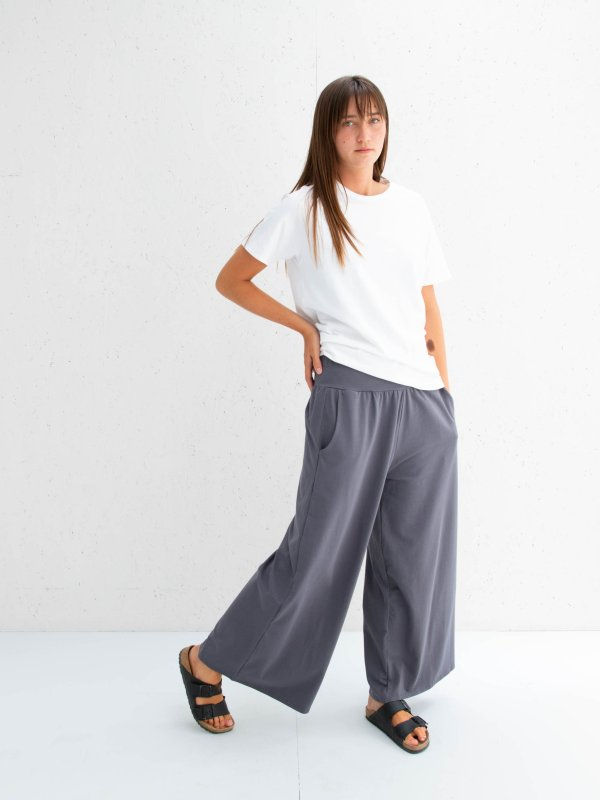 Chalk Luna Wide Leg Pants in Charcoal