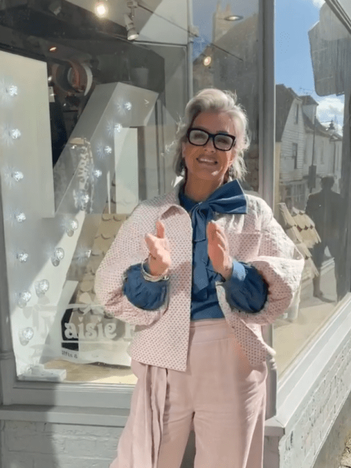 Pink Quilted Jacket with Volume Sleeves