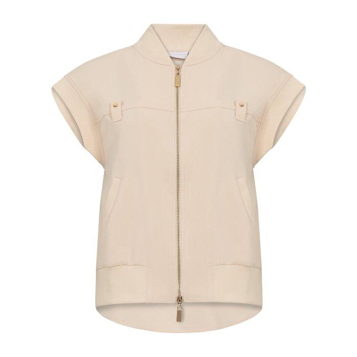 Vest with Ribbing in Cream