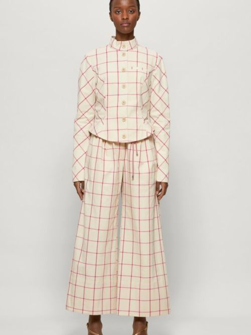 Nour Trousers in Oyster Grey Pink Check