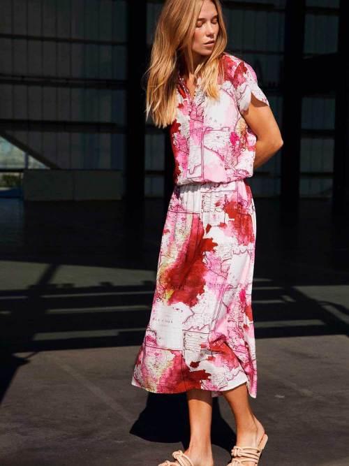 Maxi Dress with Map Print