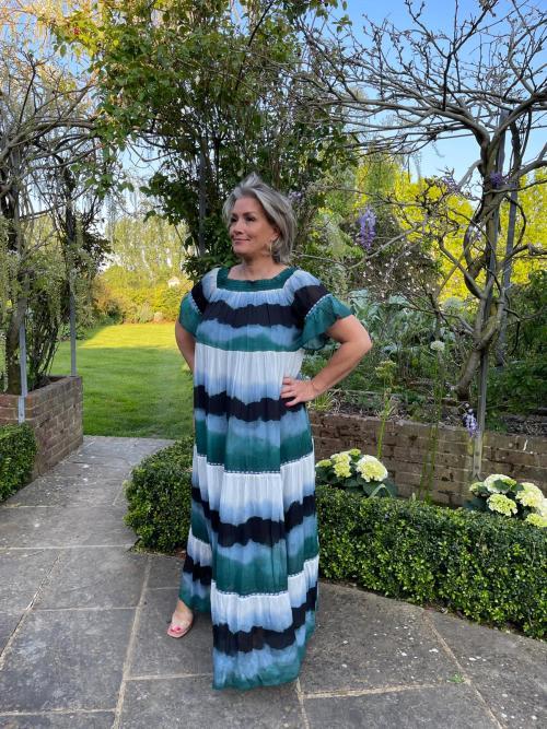 Aqua Tie Dye Maxi Dress