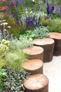 jardin avec des troncs d arbres