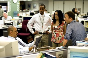 The Wire - Season 5 - Clark Johnson, Brandon Young, Michelle Paress and Tom McCarthy - Paul Schiraldi/HBO Haynes wants to wait on story.