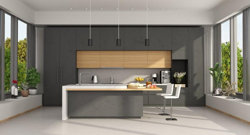 cuisine grise et bois 20 modeles tendance pour vous inspirer
