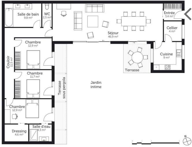 Plan Maison Avec Piscine Centrale - Maison Plan