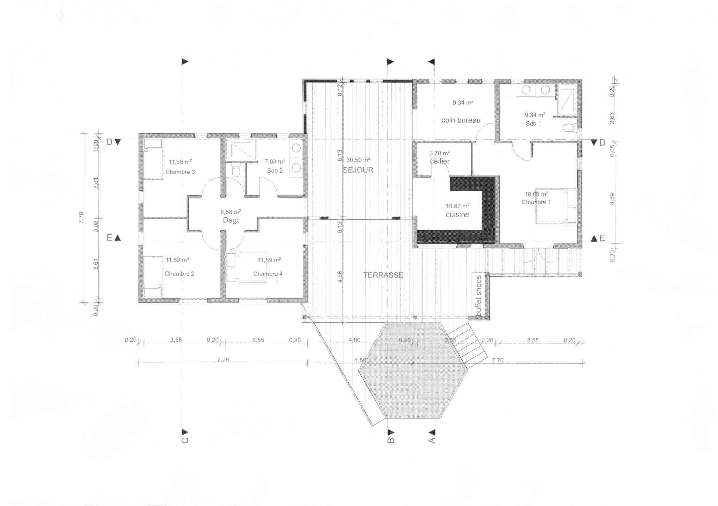 Plan De Maison 4 Chambres Salon + Cuisine Pdf - Maison Plan