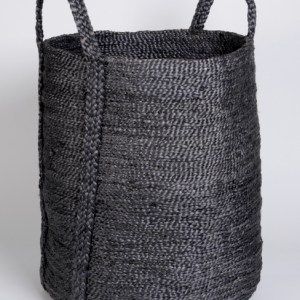 Hand woven round jute basket charcoal BSK-J1Grey