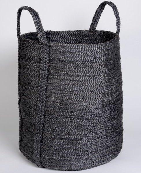 Hand woven round jute basket charcoal BSK-J1Grey