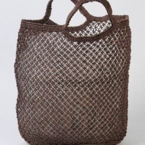 Jute macrame shopping bag brown