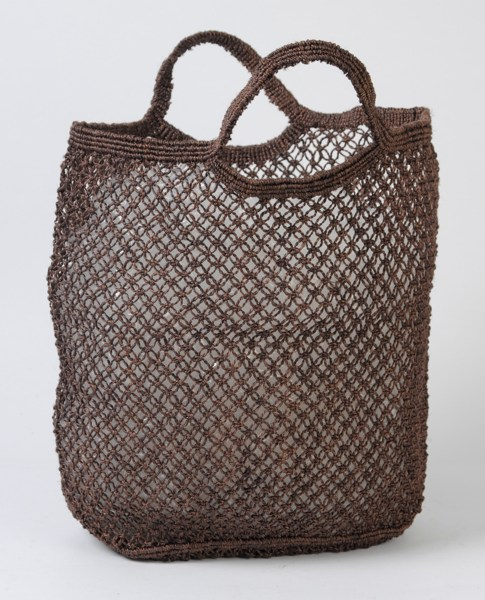 Jute macrame shopping bag brown