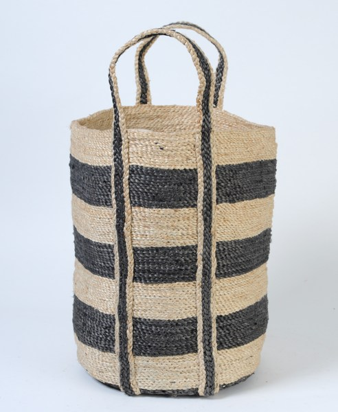 small round jute basket charcoal stripes