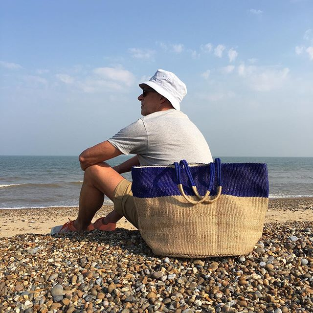 Last of the summer sun with blue stripe jute beach bag