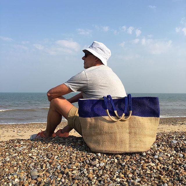 Last of the summer sun with blue stripe jute beach bag
