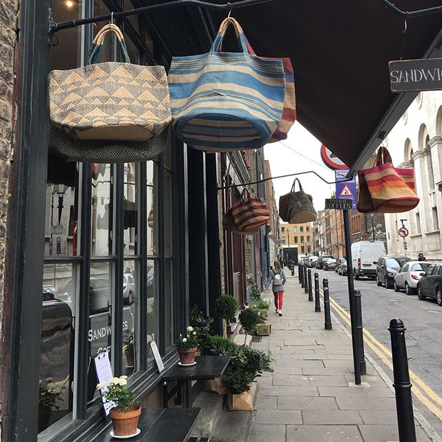 Our hand woven jute bags looking good today outside @verdeandco new premises on Fournier Street