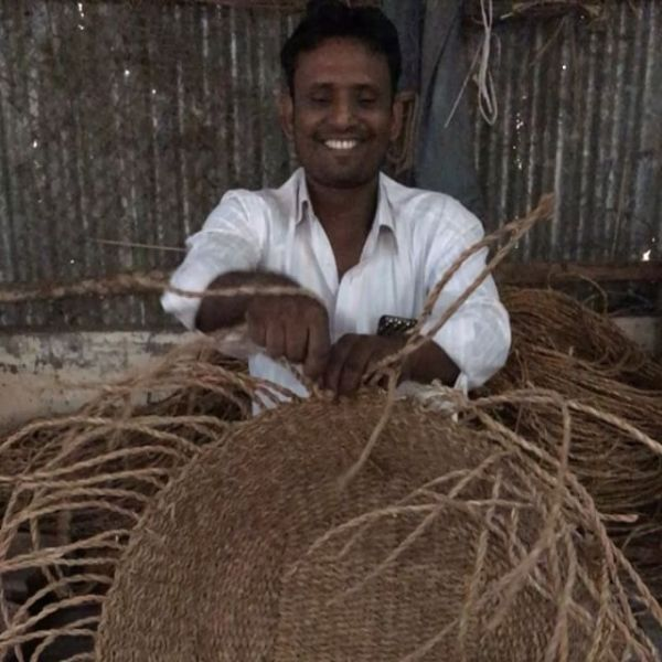 Visit to hogla (sea-grass) basket weavers today – Rezaul is the production manager