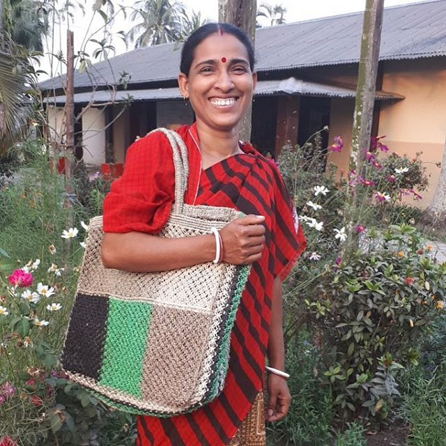 Bhabani Biswas with our new macramé patchwork shoulder bag - arriving soon!