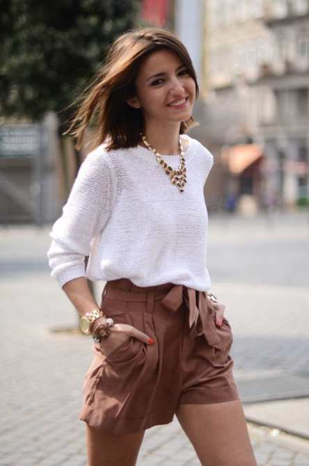 dressy shorts white sweater cute summer style outfit