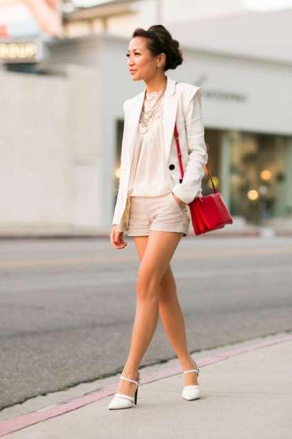 dressy shorts white jacket red handbag cute street style summer fashion