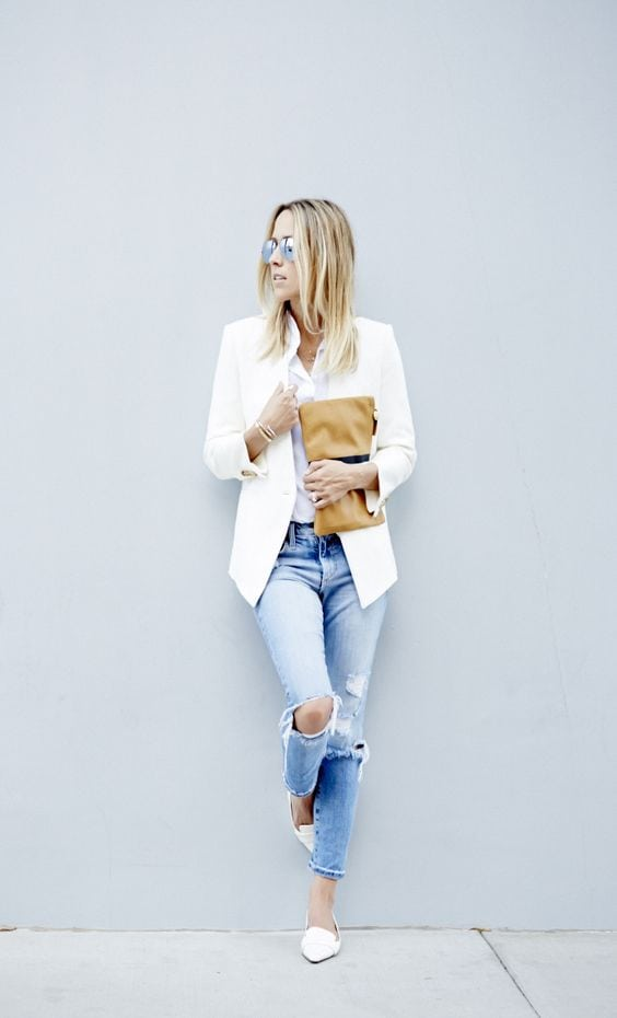 white-blazer-ripped-jeans
