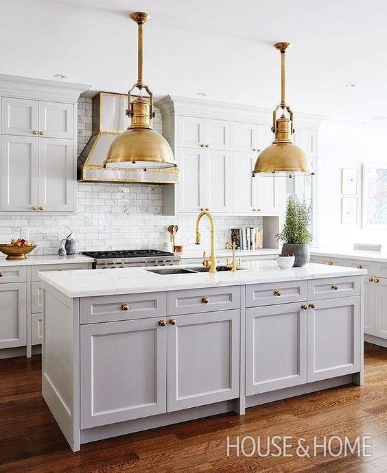 grey-and-white-kitchen-brass-pendants