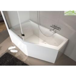baignoire acrylique riho d angle geta 160x90 cm avec une poignee integree