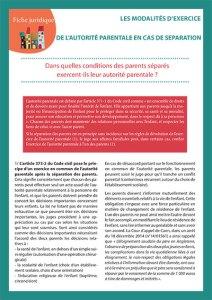 Les modalités d'exercice de l'autorité parentale en cas de séparation