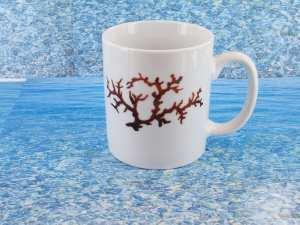 Tasse en porcelaine blanche décor corail PO-BL-CO-003 corail PO-BL-CO-028