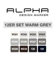Montana Alpha marker set 12 – warm grey