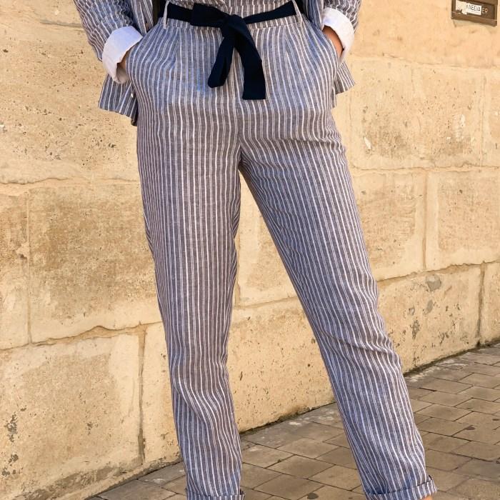 pantalon-lin-rayé-bleu-blanc-vila